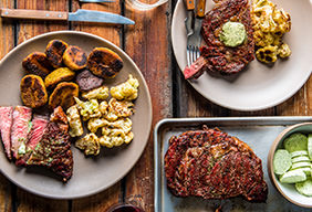 Grilled Ribeye with Green Butter