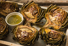 Roasted Artichoke with Green Garlic Butter