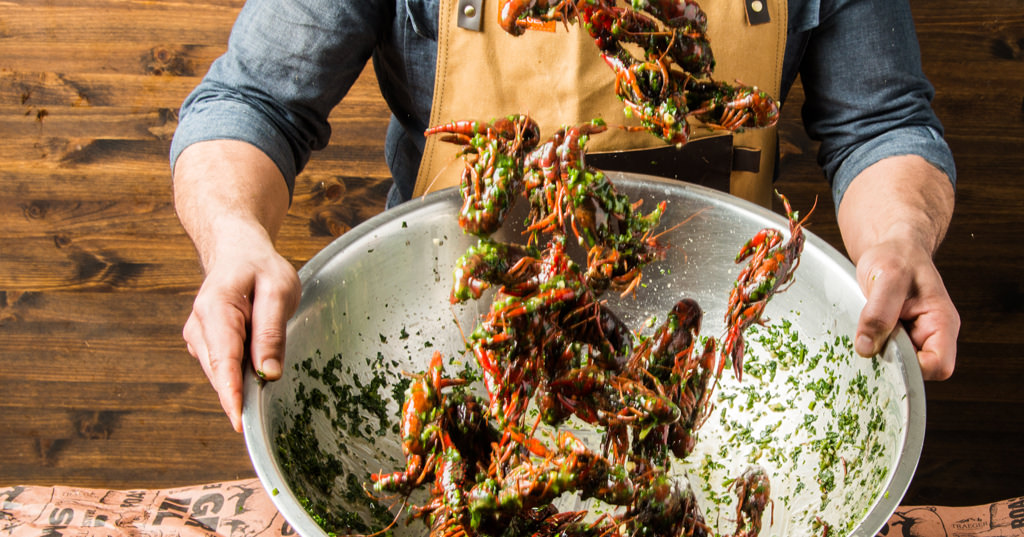 Grilled Crawfish with Spicy Garlic Butter