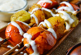 Grilled Fruit Skewers with Yogurt Sauce