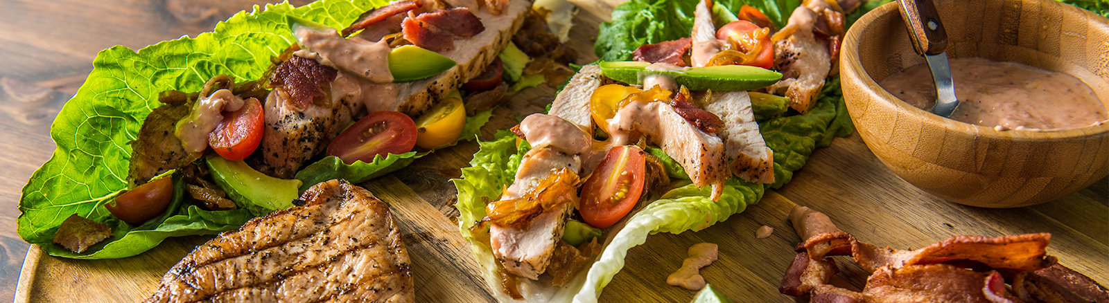 Grilled Bacon Chicken Lettuce Wraps
