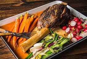 Braised Elk Shank with Spring Vegetables