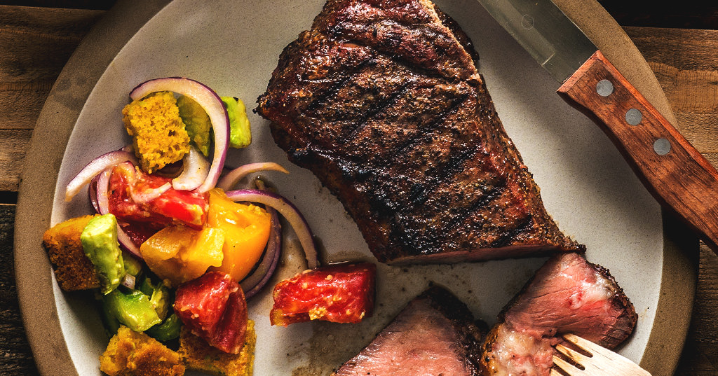 Grilled NY Steak with Cornbread Salad