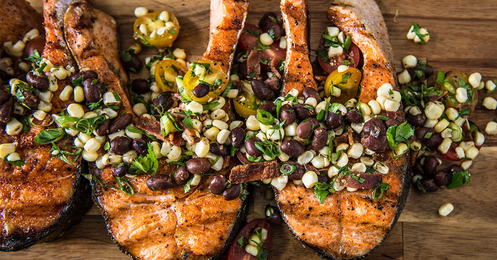 Grilled Salmon Steaks with BBQ Corn Salad
