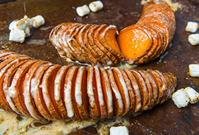 Marshmallow Hasselback Sweet Potatoes