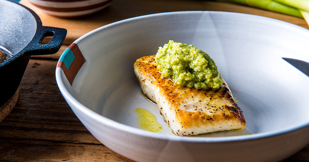 Pan-Seared Halibut with Green Garlic Pesto