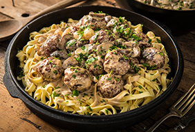 Braised Venison Meatball Stroganoff with Egg Noodles