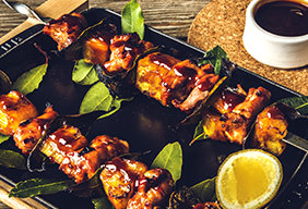 BBQ Chicken And Pineapple Skewers with Fresh Bay Leaves by Chef Tyler Florence