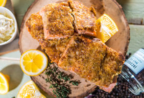 Potato Crusted Salmon with Lemon Butter Sauce