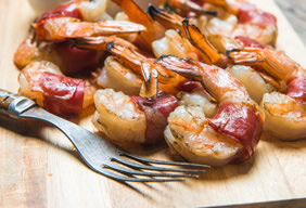 Prosciutto Wrapped Shrimp with Peach Salsa