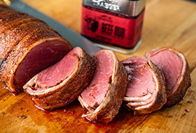 Roasted Bacon Wrapped Beef Tenderloin