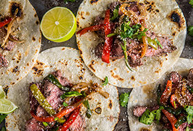 Grilled Flat Iron Steak Fajitas