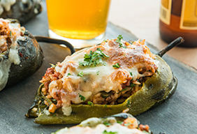 Buffalo & Pork Stuffed Poblano Peppers