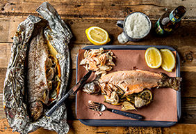 Roasted Stuffed Rainbow Trout with Brown Butter