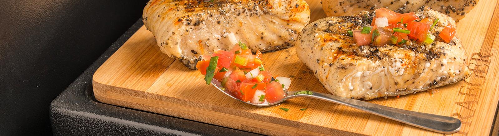 Jamaican jerk halibut with pico de gallo traeger wood for Fish grill pico