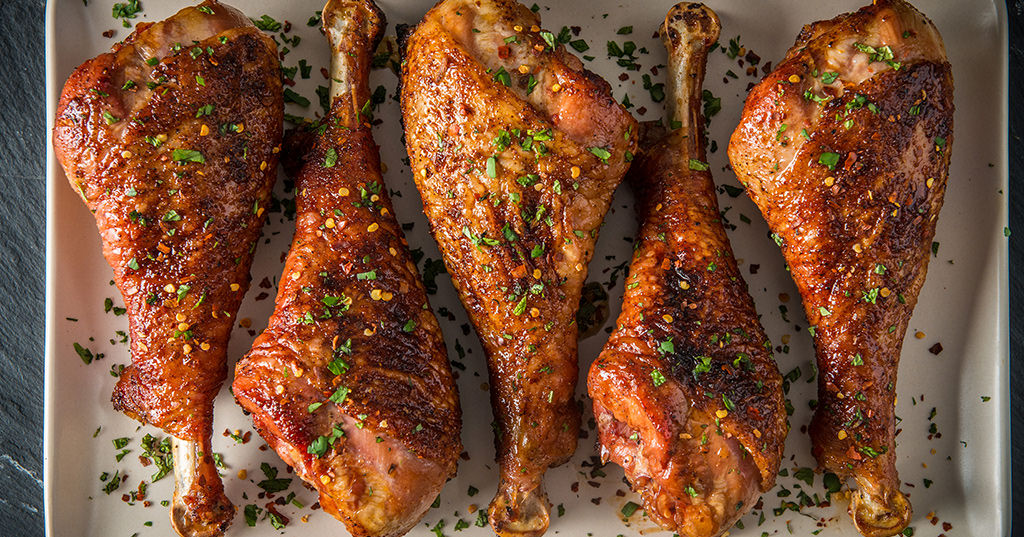Smoked Turkey Legs with Brown Butter and Bourbon Glaze by Feedmedearly
