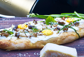 Grilled Pizza with Parmesan Bechamel Sauce by Chef Tyler Florence