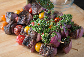 Grilled Rib-Eye Shish Kabobs with Chimichurri