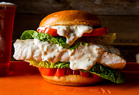 Baked Halibut Sandwich with Smoked Tartar Sauce