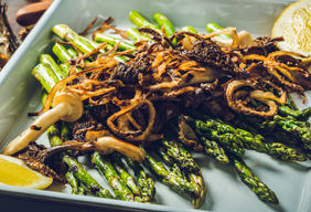 Grilled Asparagus with Wild Mushrooms and Fried Shallots