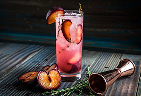 Plum and Thyme Fizz Cocktail