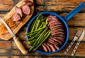 Roasted Venison Steaks with Asparagus by The Bowmars