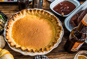 Baked Buttermilk Pie with Cornmeal Crust
