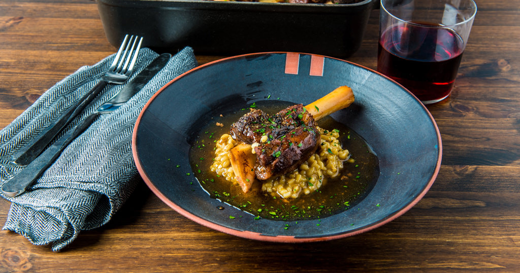 Armenian style lamb shanks with barley risotto by Chef Bonnie Morales