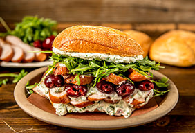 Smoked Chicken Sandwich with Arugula & Pickled Cherries