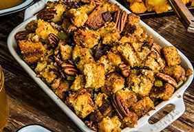 Baked Cornbread, Bacon, and Pecan Stuffing