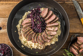 Roasted Venison Loin with Creamy Potatoes