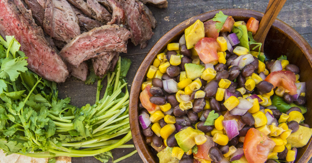 Skirt Steak with Corn and Avocado Salsa