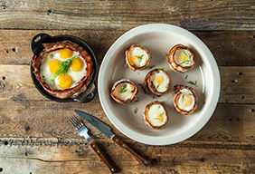 Baked Eggs in Bacon Nest