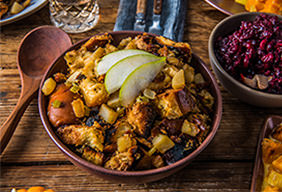 Baked Pear, Bacon & Brown Butter Stuffing