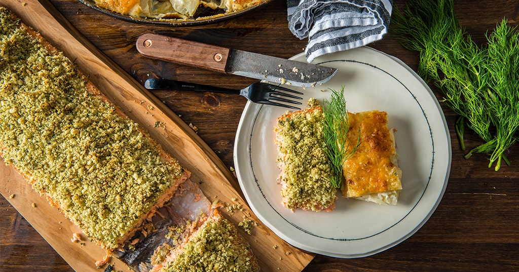 Slow Roasted Wild Salmon with Cheesy Scalloped Potatoes
