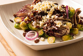 Charred Brussels & Radicchio with Hot Bacon Dressing
